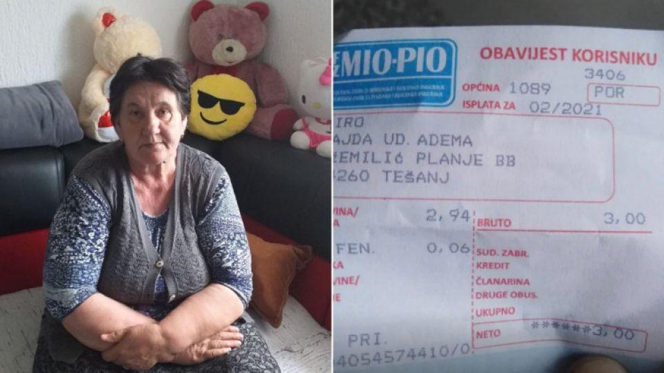 Sajda Piro iz okoline Tešnja prima penziju od tri KM. Ovo je njena priča!